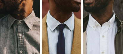 Three vertically-separated images showing each of three shirt collars; California-, Hyde-, and Jack-style.