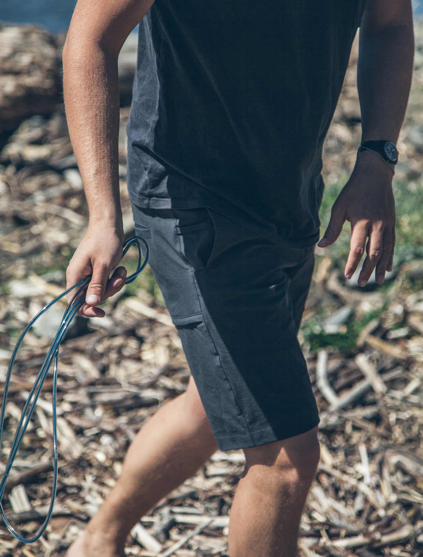 Wearing shorts in the brush.