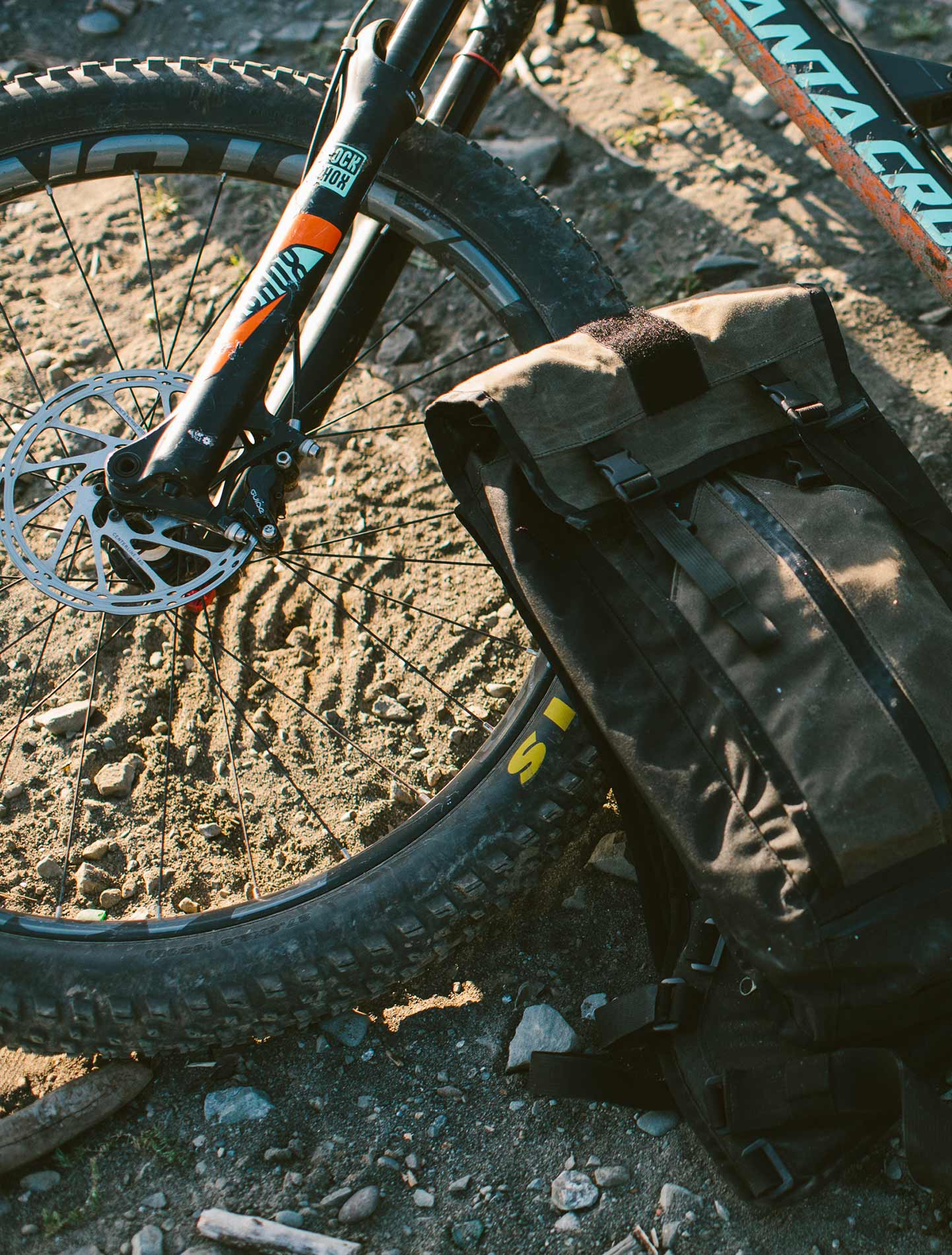 A North Coast Collection bag and a mountain bike.