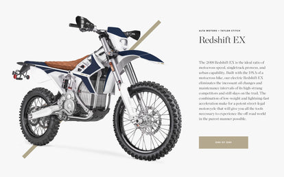 Alta Motors X Taylor Stitch 2018 Redshoft EX All Electric Moto