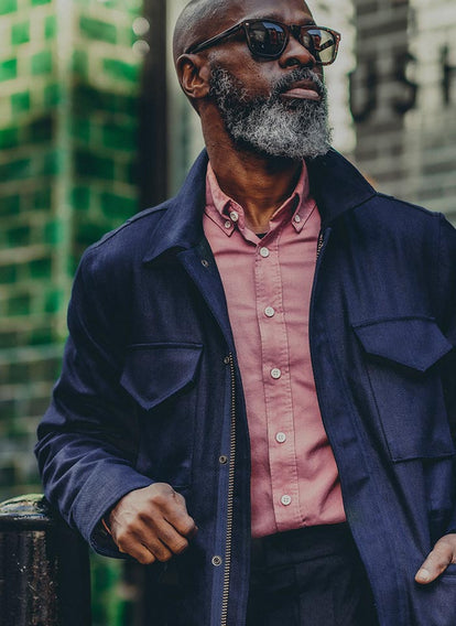 Efe Efeturi in our Dusty Rose Oxford Jack Shirt