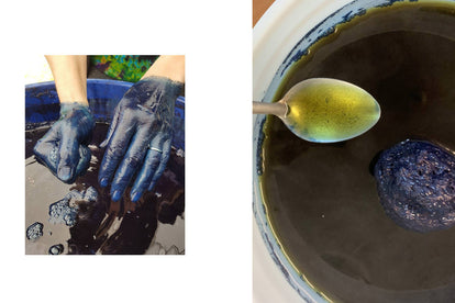 a split shot of the indigo dying process and the dye itself
