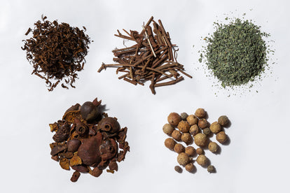 a flatlay of the different botanical materials used to dye the garments in the Botanical Dye Capsule
