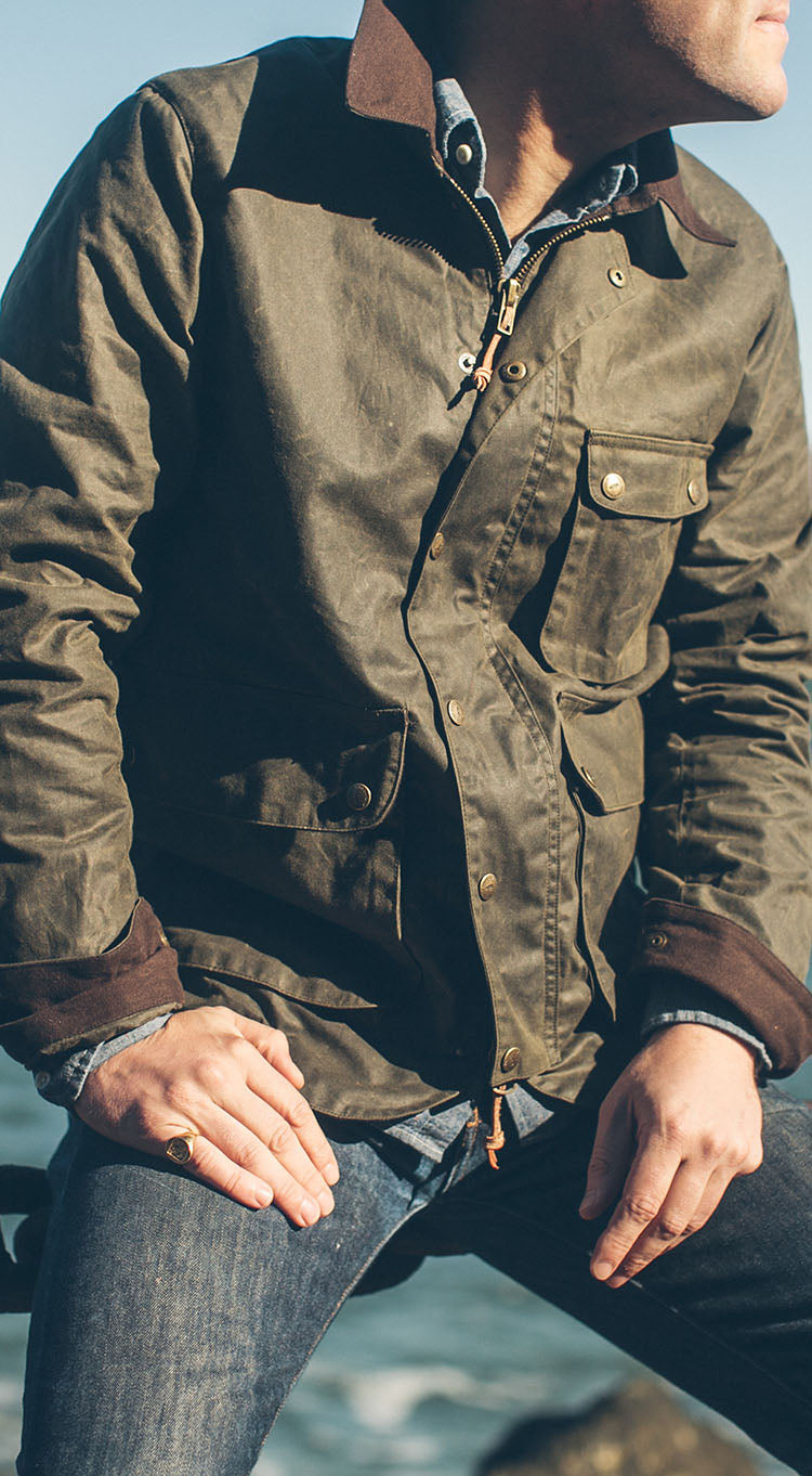 The Rover Jacket in Dark Olive Waxed Canvas