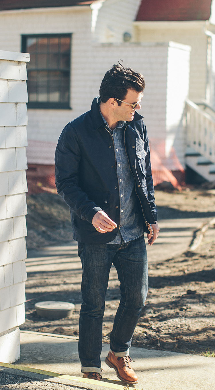 The Rover Jacket in Navy Waxed Canvas