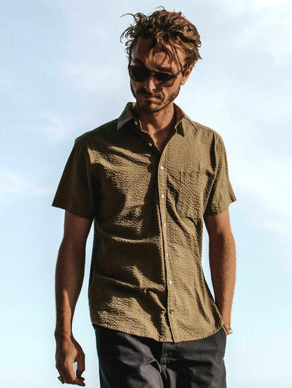 Summer Shirting - The Short Sleeve California in Army Seersucker from Taylor Stitch