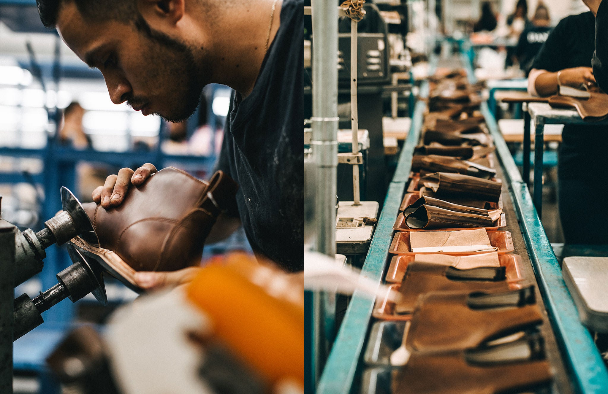 Leather being prepped in our boot and shoe factory.