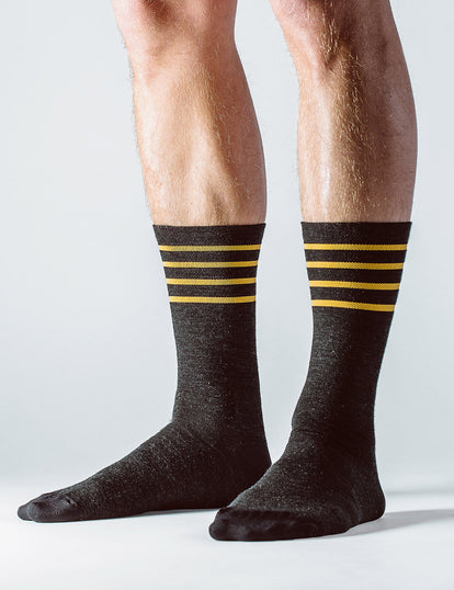 Feet, standing, wearing our merino socks.