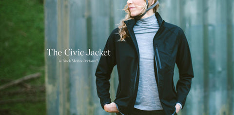 The Civic Jacket in Black MerinoPerform™