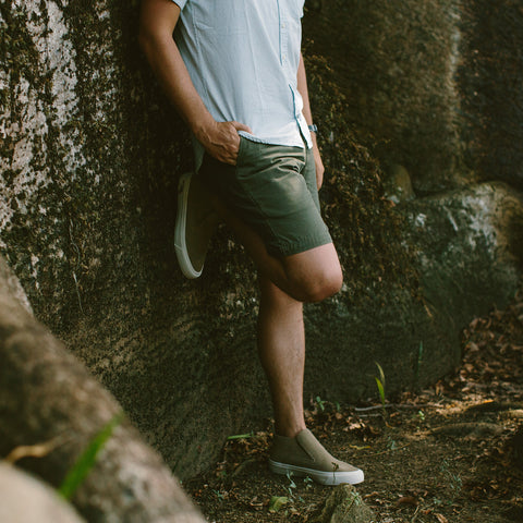 The Camp Short in Washed Olive Drab Herringbone - alternate view