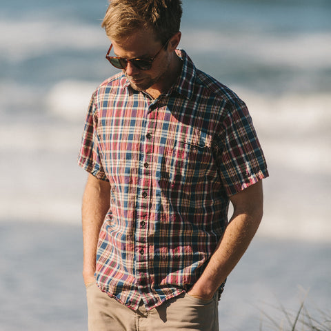 The Short Sleeve California in Red Madras - alternate view