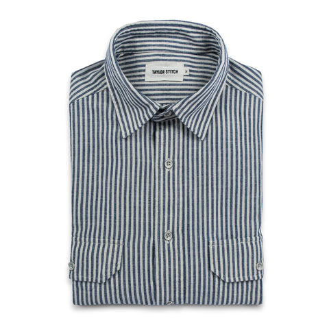The Chore Shirt in Natural Striped Chambray - featured image