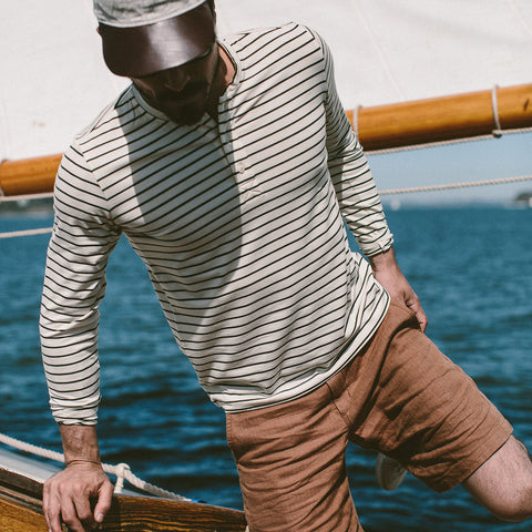 The Mercerized Merino Henley in Forest Stripe - alternate view