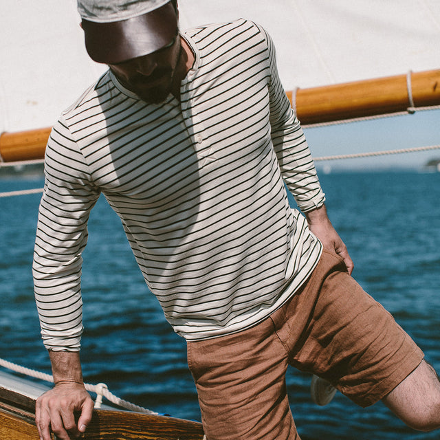 The Mercerized Merino Henley in Forest Stripe