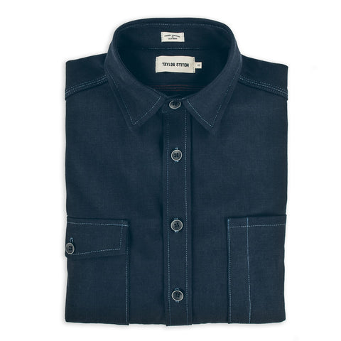 The Utility Shirt in Cone Mills Indigo Selvage Canvas - featured image