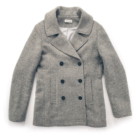 The Mariner Peacoat in Ash Donegal Lambswool - featured image