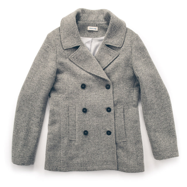 The Mariner Peacoat in Ash Donegal Lambswool