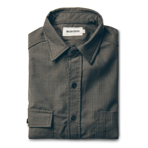 The Utility Shirt in Moss Merino 4S Herringbone - featured image