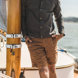 The Maritime Short in British Khaki Linen Herringbone: Alternate Image 2