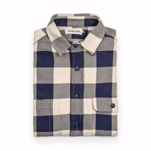 The Moto Utility Shirt in Natural & Navy Buffalo Plaid - featured image