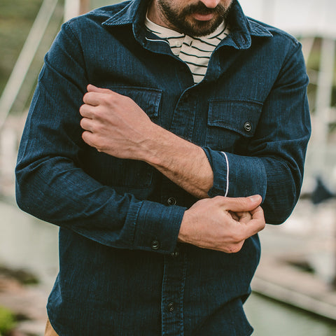 The Maritime Shirt Jacket in Sea Washed Indigo - alternate view