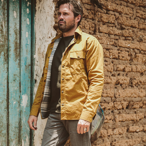 The Chore Jacket in Mustard Dry Wax Canvas - alternate view