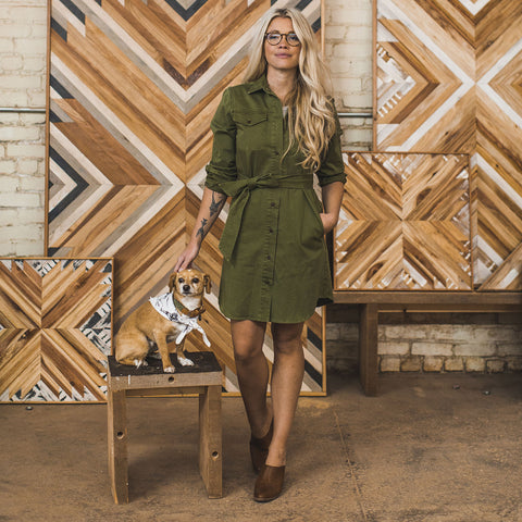 The Trench Dress in Army Green - alternate view