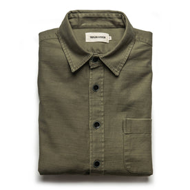 The Mechanic Shirt in Olive Reverse Sateen - featured image