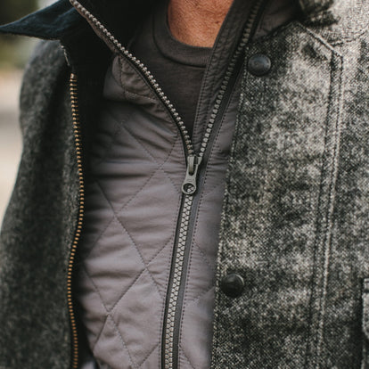 close up of our fit model wearing the vertical jacket