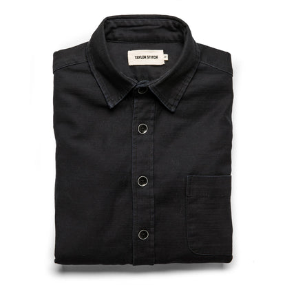 The Mechanic Shirt in Black Reverse Sateen: Featured Image