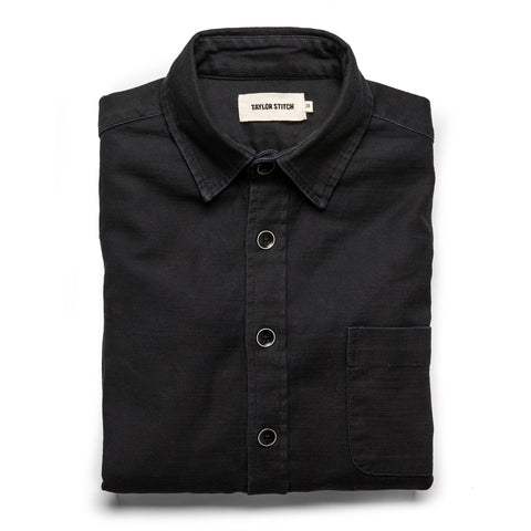 The Mechanic Shirt in Black Reverse Sateen - featured image