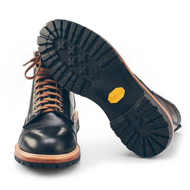 The Cap Toe Moto Boot in Black Steerhide