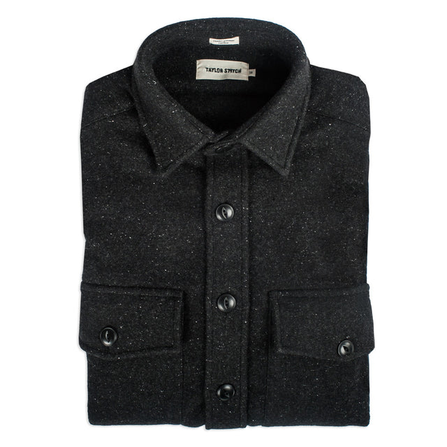 The Maritime Shirt Jacket in Charcoal Donegal Wool