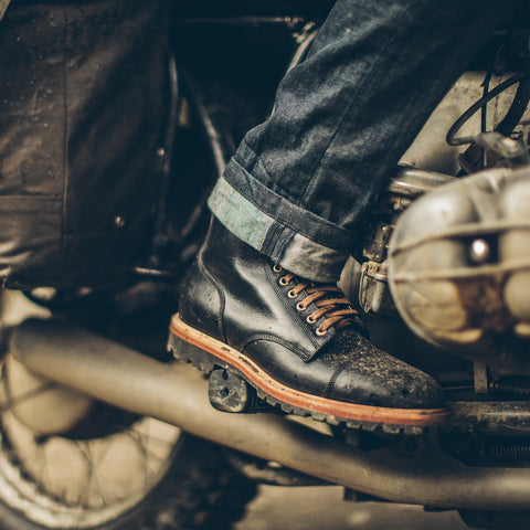 The Cap Toe Moto Boot in Black Steerhide - alternate view