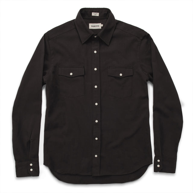 The Glacier Shirt in Sea Washed Black Twill