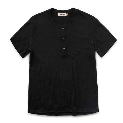 The Short Sleeve Henley in Black Merino - featured image