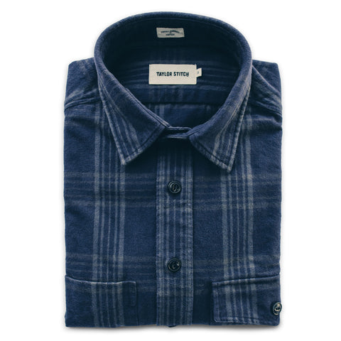 The Crater Shirt in Navy & Charcoal Plaid - featured image