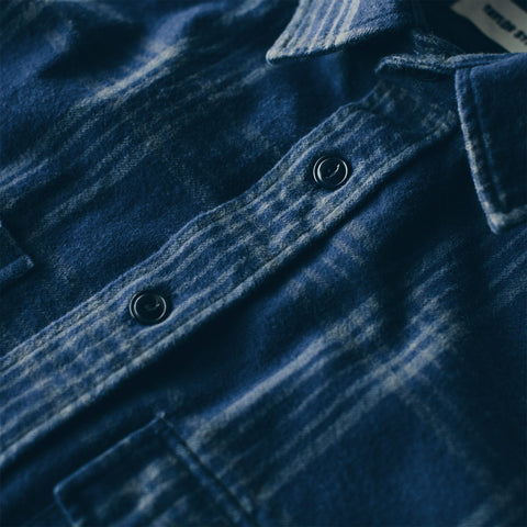 The Crater Shirt in Navy & Charcoal Plaid - alternate view