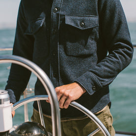 The Maritime Shirt Jacket in Navy Donegal Lambswool: Alternate Image 4