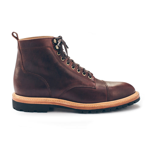 The Cap Toe Moto Boot in Brown Steerhide - featured image