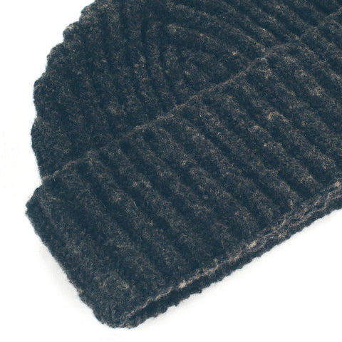 The Merino Wool Beanie in Charcoal - alternate view