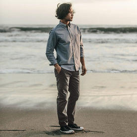 Our fit model wearing The Slim Chino in Organic Ash.