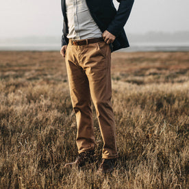 Our fit model wearing The Slim Chino in Organic British Khaki.