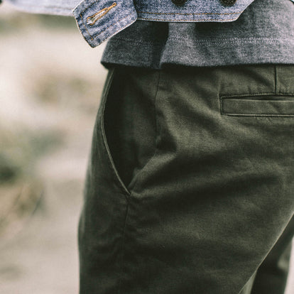 Our fit model wearing The Democratic Chino in Organic Olive.