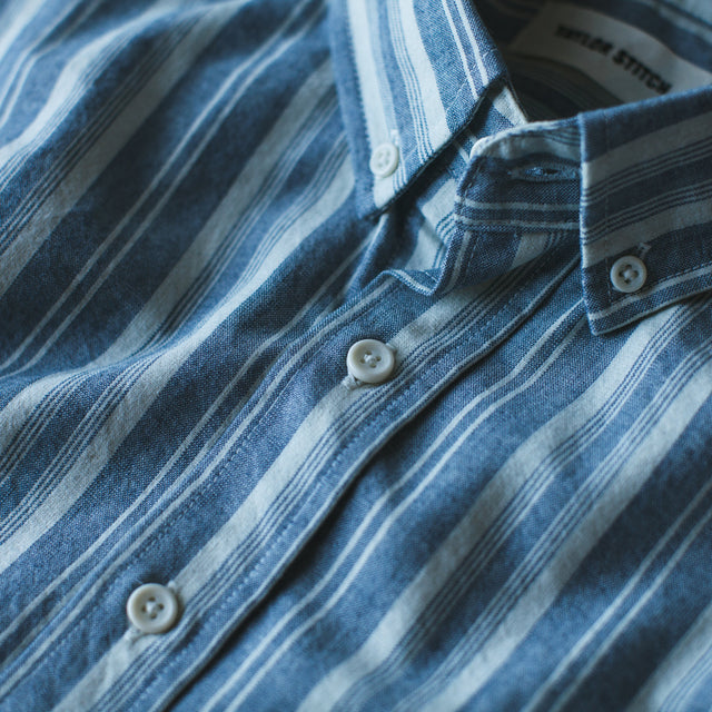 The Short Sleeve California in Blue Striped Chambray