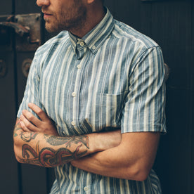 The Short Sleeve California in Blue Striped Chambray: Alternate Image 4