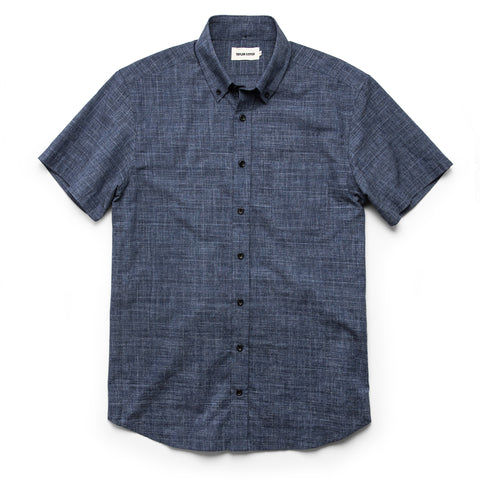The Short Sleeve Jack in Navy Slub Glen Plaid - featured image