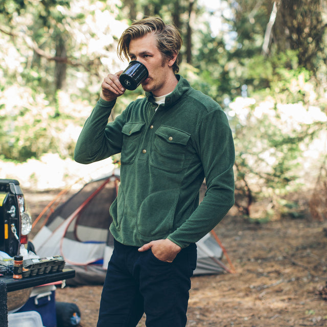 The Pack Pullover in Olive Polartec Fleece