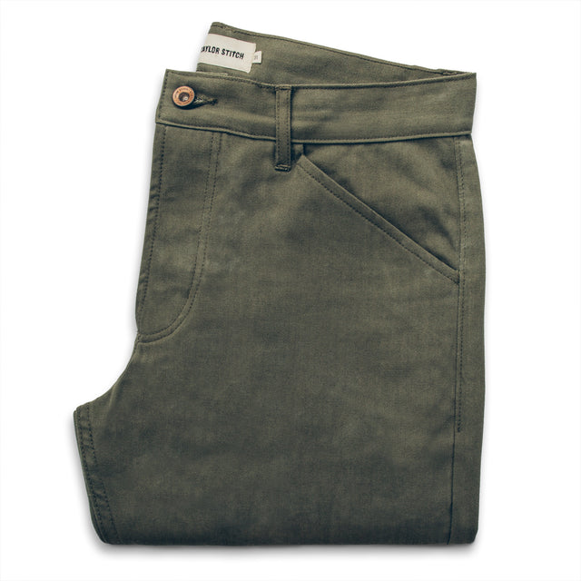 The Camp Pant in Olive Drab Herringbone