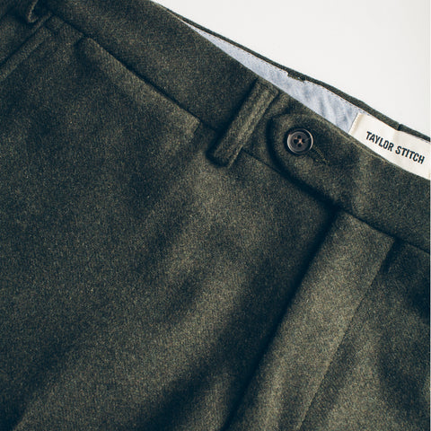 The Telegraph Trouser in Olive Wool - alternate view